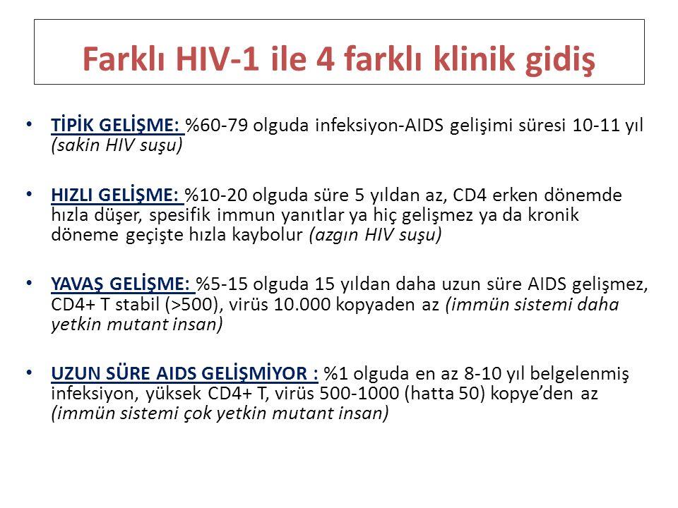 Farklı HIV-1 ile 4 farklı klinik gidiş TİPİK GELİŞME: %60-79 olguda infeksiyon-AIDS gelişimi süresi 10-11 yıl (sakin HIV suşu) HIZLI GELİŞME: %10-20 o