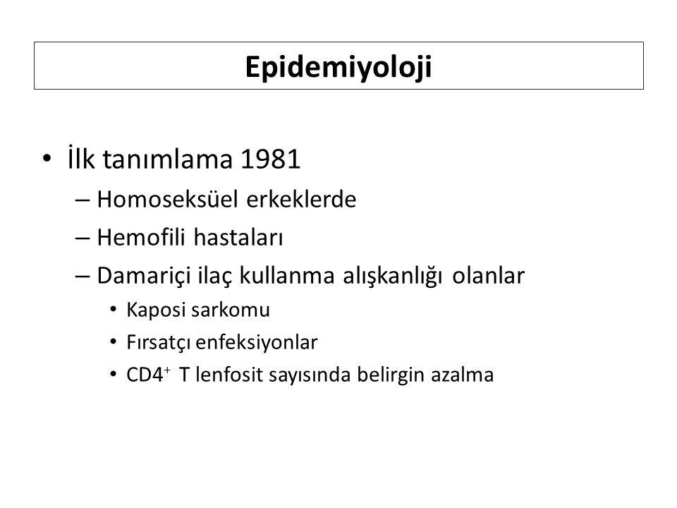 Epidemiyoloji İlk tanımlama 1981 – Homoseksüel erkeklerde – Hemofili hastaları – Damariçi ilaç kullanma alışkanlığı olanlar Kaposi sarkomu Fırsatçı enfeksiyonlar CD4 + T lenfosit sayısında belirgin azalma
