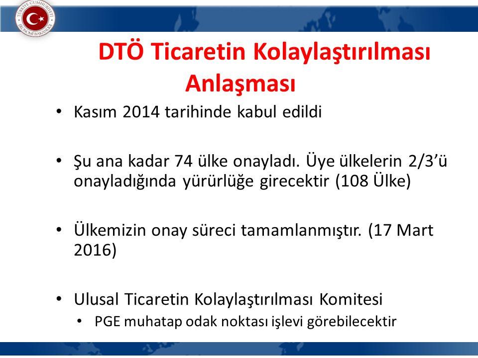 DTÖ Ticaretin Kolaylaştırılması Anlaşması Kasım 2014 tarihinde kabul edildi Şu ana kadar 74 ülke onayladı.
