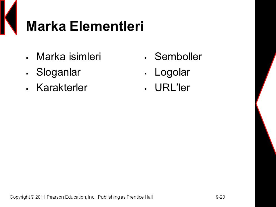 Copyright © 2011 Pearson Education, Inc. Publishing as Prentice Hall 9-20 Marka Elementleri  Marka isimleri  Sloganlar  Karakterler  Semboller  L