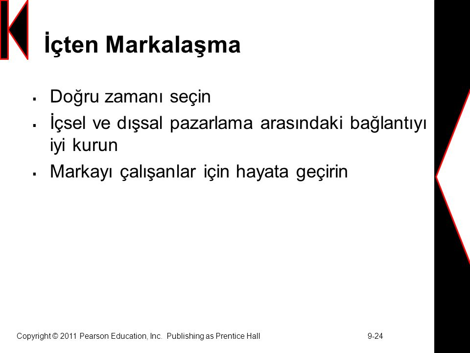 Copyright © 2011 Pearson Education, Inc. Publishing as Prentice Hall 9-24 İçten Markalaşma  Doğru zamanı seçin  İçsel ve dışsal pazarlama arasındaki