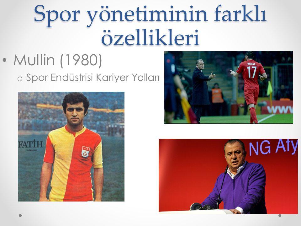 Spor yönetiminin farklı özellikleri Mullin (1980) o Spor Endüstrisi Kariyer Yolları