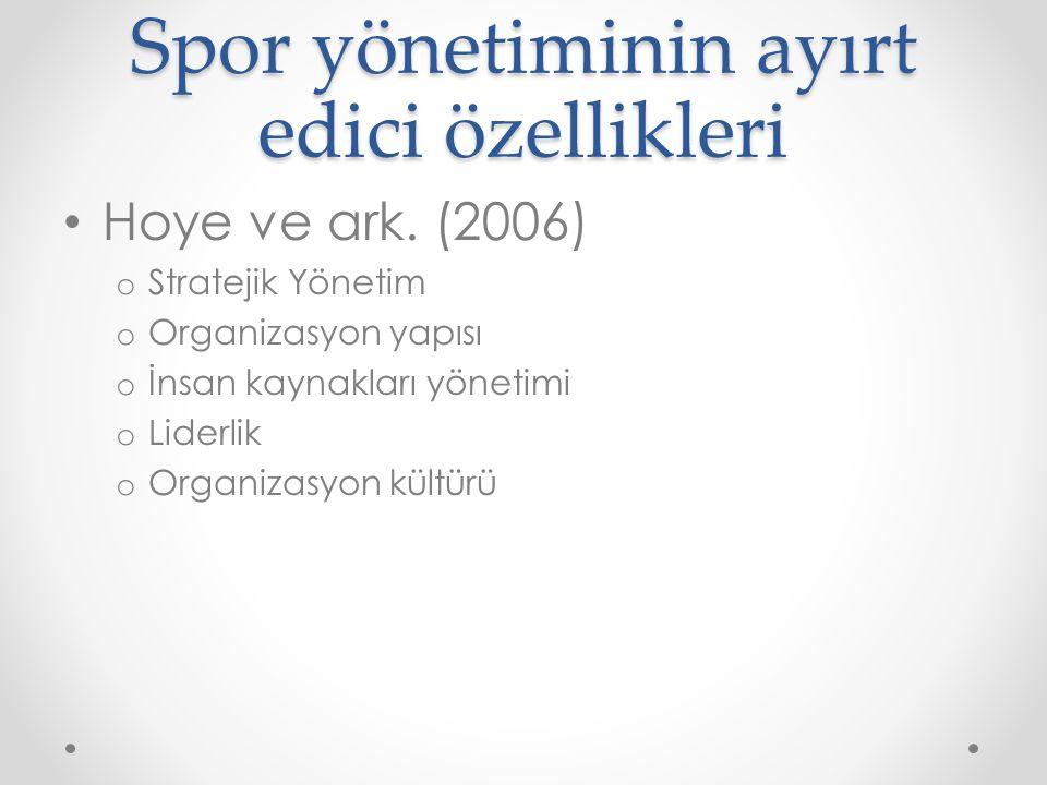 Spor yönetiminin ayırt edici özellikleri Hoye ve ark. (2006) o Stratejik Yönetim o Organizasyon yapısı o İnsan kaynakları yönetimi o Liderlik o Organi