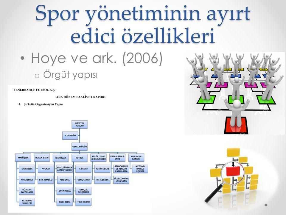 Spor yönetiminin ayırt edici özellikleri Hoye ve ark. (2006) o Örgüt yapısı