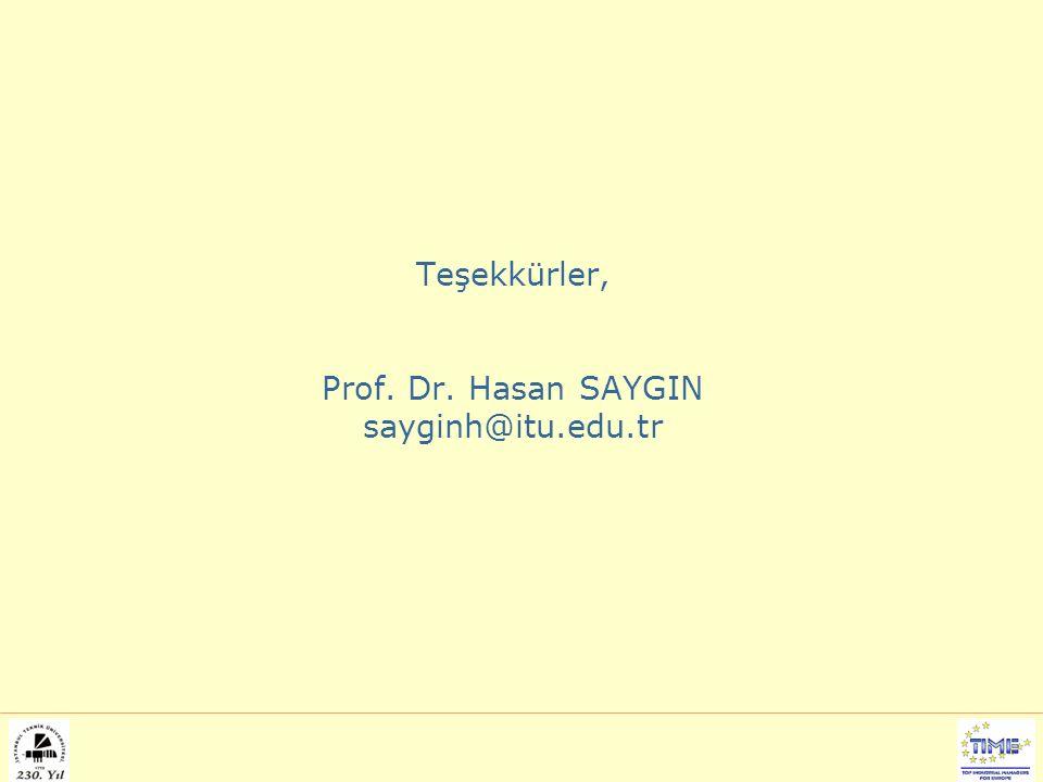 Teşekkürler, Prof. Dr. Hasan SAYGIN sayginh@itu.edu.tr