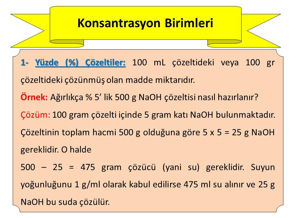 Konsantrasyon Birimleri 2.Molarite (M): 2.