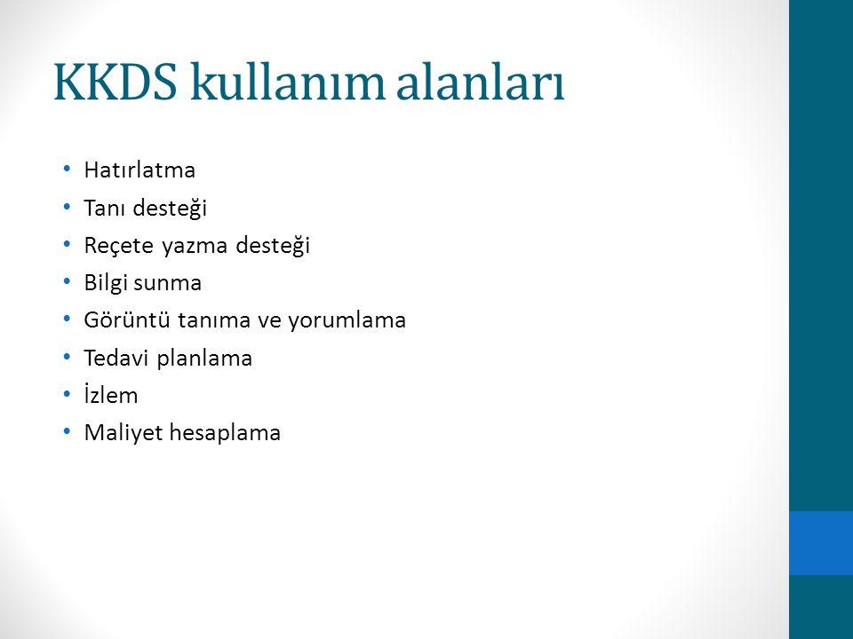 KKDS kullanım alanları Hatırlatma Tanı desteği Reçete yazma desteği Bilgi sunma Görüntü tanıma ve yorumlama Tedavi planlama İzlem Maliyet hesaplama