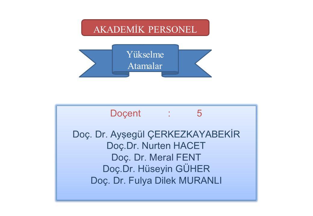 Yükselme Atamalar Doçent:5 Doç.Dr. Ayşegül ÇERKEZKAYABEKİR Doç.Dr.