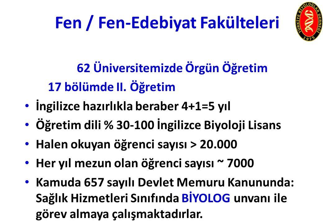 Fen / Fen-Edebiyat Fakülteleri 62 Üniversitemizde Örgün Öğretim 17 bölümde II.