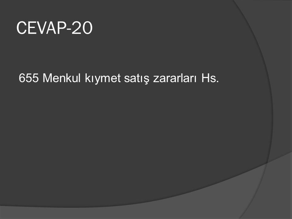 CEVAP-20 655 Menkul kıymet satış zararları Hs.