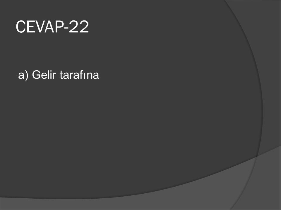 CEVAP-22 a) Gelir tarafına