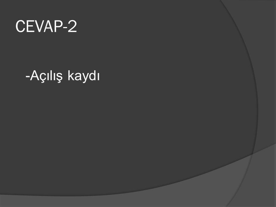 CEVAP-2 -Açılış kaydı