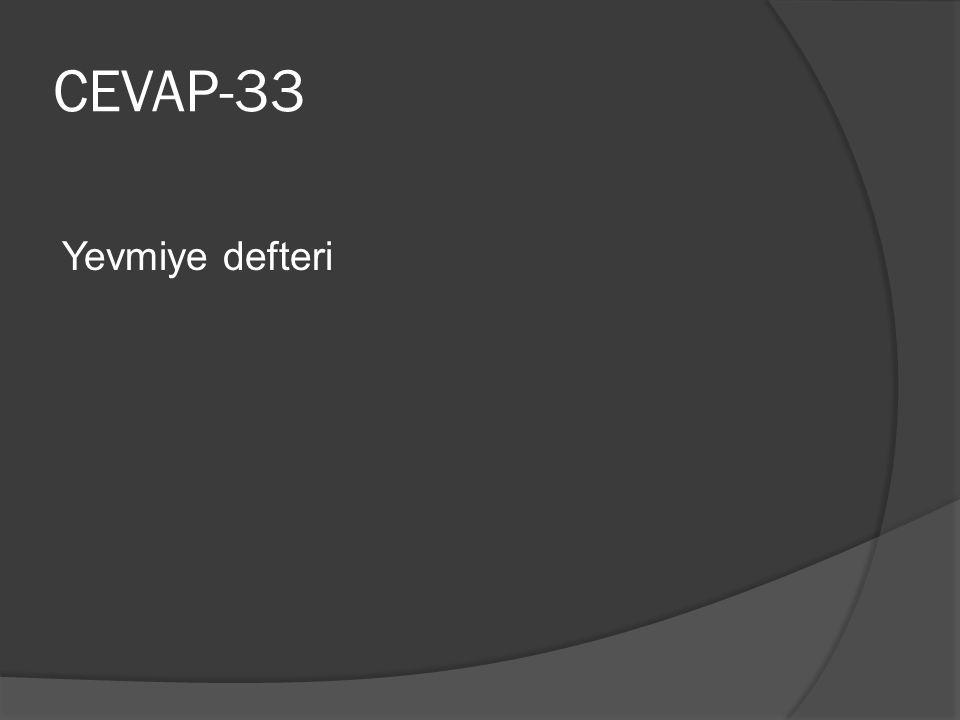 CEVAP-33 Yevmiye defteri