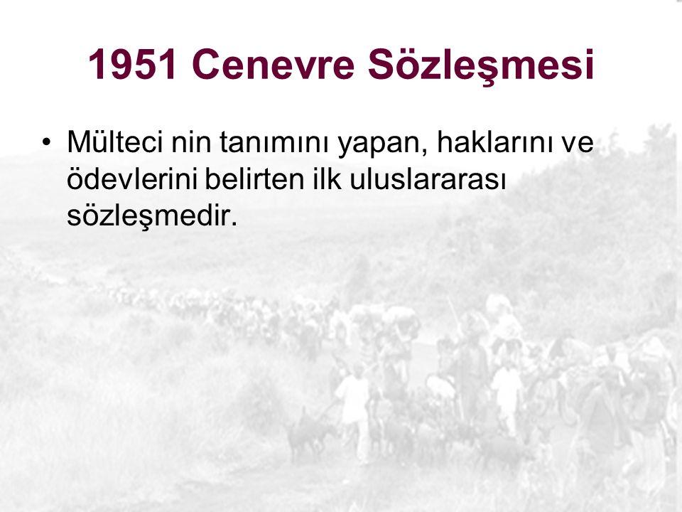 1951 Cenevre Sözleşmesi Mülteci nin tanımını yapan, haklarını ve ödevlerini belirten ilk uluslararası sözleşmedir.