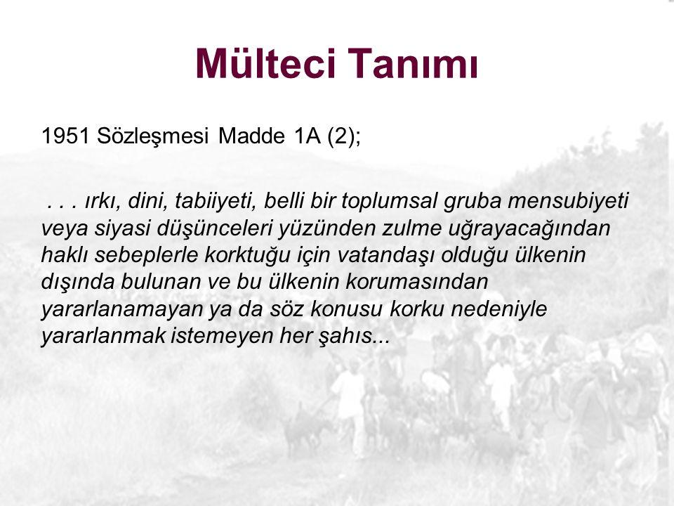 Mülteci Tanımı 1951 Sözleşmesi Madde 1A (2);...