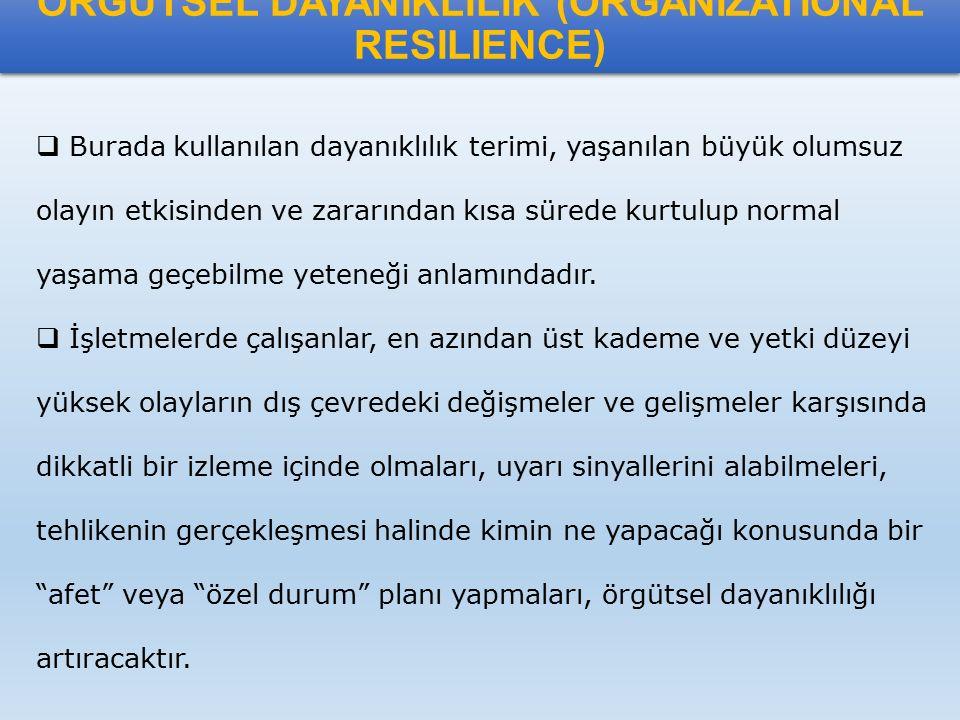 ÖRGÜTSEL DAYANIKLILIK (ORGANIZATIONAL RESILIENCE)  Burada kullanılan dayanıklılık terimi, yaşanılan büyük olumsuz olayın etkisinden ve zararından kıs