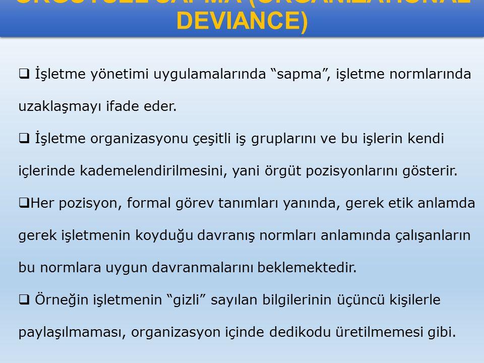 """ÖRGÜTSEL SAPMA (ORGANIZATIONAL DEVIANCE)  İşletme yönetimi uygulamalarında """"sapma"""", işletme normlarında uzaklaşmayı ifade eder.  İşletme organizasyo"""