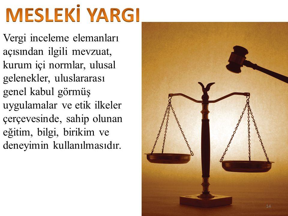 Vergi inceleme elemanları açısından ilgili mevzuat, kurum içi normlar, ulusal gelenekler, uluslararası genel kabul görmüş uygulamalar ve etik ilkeler