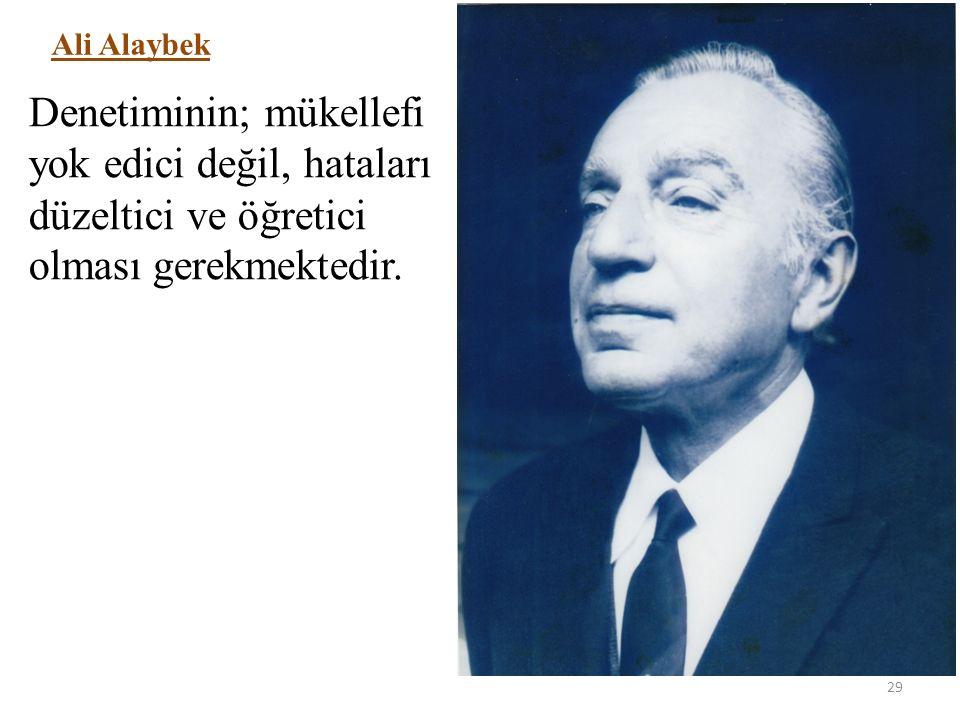 29 Ali Alaybek Denetiminin; mükellefi yok edici değil, hataları düzeltici ve öğretici olması gerekmektedir.