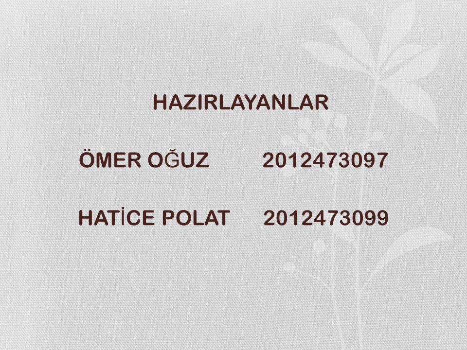 HAZIRLAYANLAR ÖMER O Ğ UZ 2012473097 HAT İ CE POLAT 2012473099
