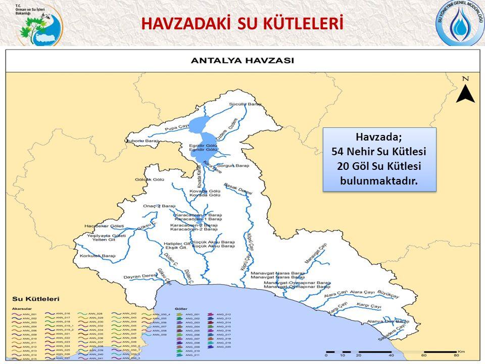 36 HAVZADAKİ SU KÜTLELERİ Havzada; 54 Nehir Su Kütlesi 20 Göl Su Kütlesi bulunmaktadır.