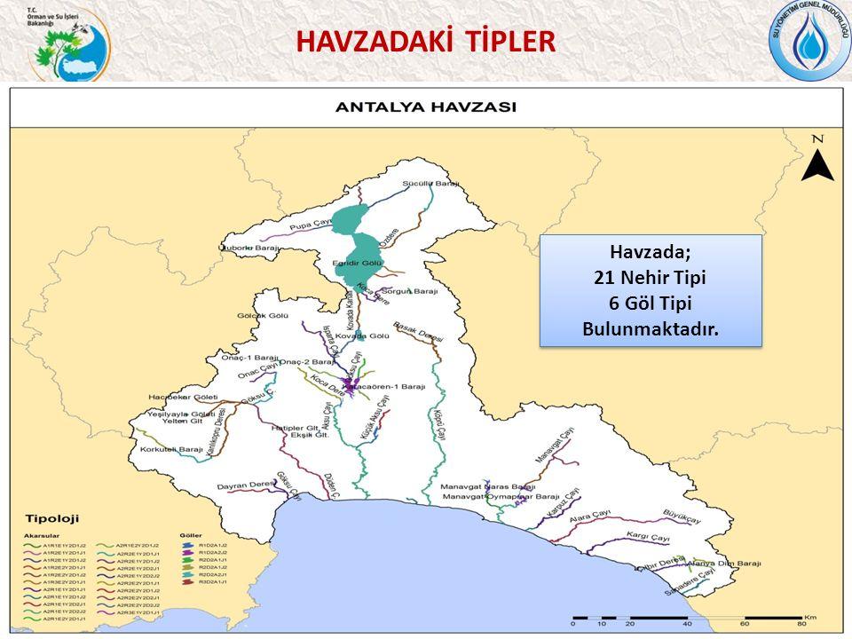 37 HAVZADAKİ TİPLER Havzada; 21 Nehir Tipi 6 Göl Tipi Bulunmaktadır.