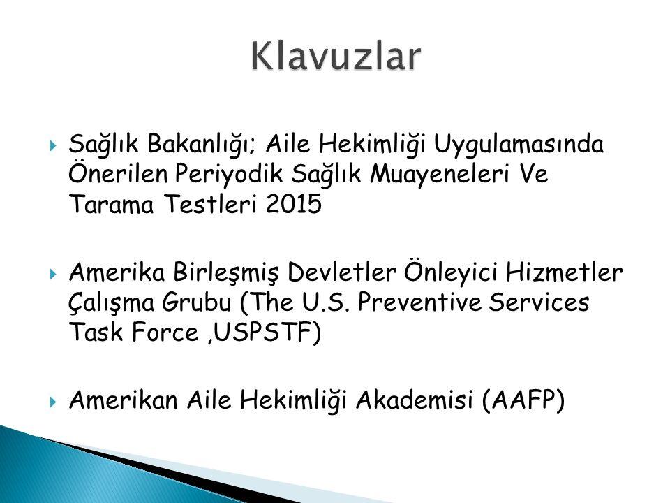  Sağlık Bakanlığı; Aile Hekimliği Uygulamasında Önerilen Periyodik Sağlık Muayeneleri Ve Tarama Testleri 2015  Amerika Birleşmiş Devletler Önleyici Hizmetler Çalışma Grubu (The U.S.
