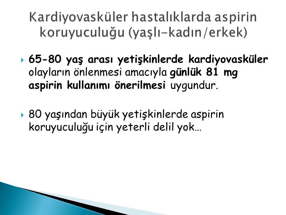  65-80 yaş arası yetişkinlerde kardiyovasküler olayların önlenmesi amacıyla günlük 81 mg aspirin kullanımı önerilmesi uygundur.