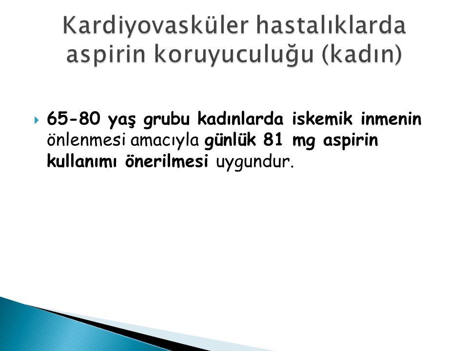 65-80 yaş grubu kadınlarda iskemik inmenin önlenmesi amacıyla günlük 81 mg aspirin kullanımı önerilmesi uygundur.