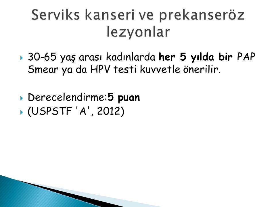  30-65 yaş arası kadınlarda her 5 yılda bir PAP Smear ya da HPV testi kuvvetle önerilir.