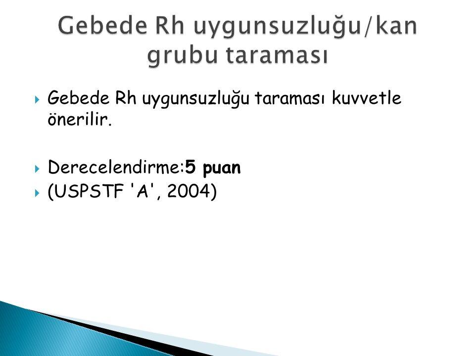  Gebede Rh uygunsuzluğu taraması kuvvetle önerilir.  Derecelendirme:5 puan  (USPSTF A , 2004)