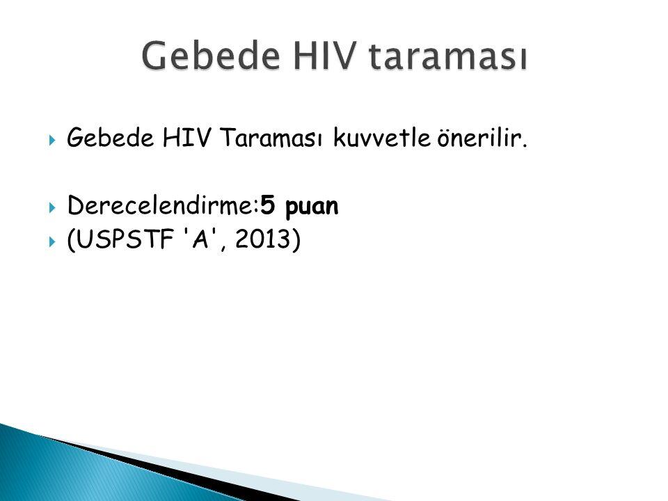  Gebede HIV Taraması kuvvetle önerilir.  Derecelendirme:5 puan  (USPSTF A , 2013)