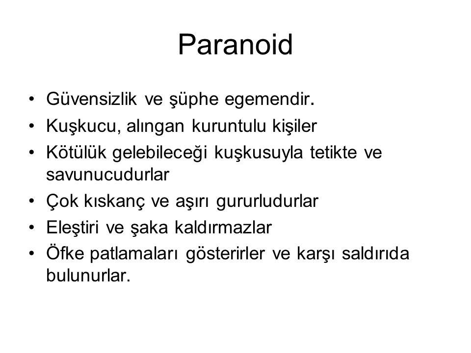 Paranoid Güvensizlik ve şüphe egemendir.