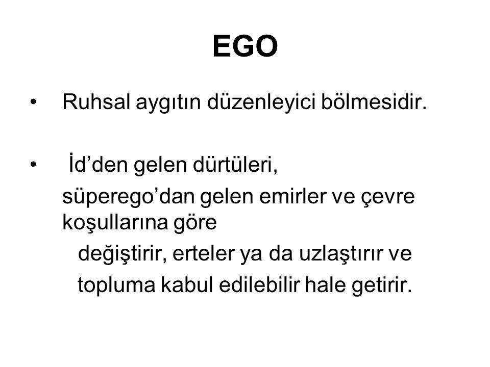 EGO Ruhsal aygıtın düzenleyici bölmesidir.