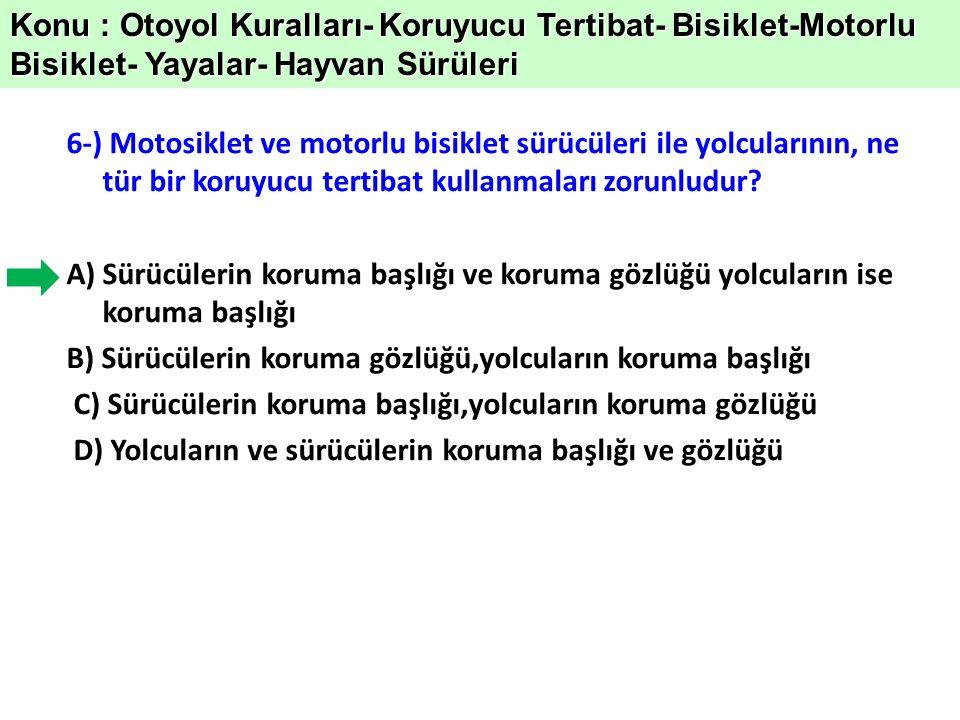 17-) Hangi tür araçlarda emniyet kemeri bulundurulması ve kullanılması zorunlu değildir.