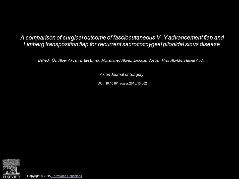 A comparison of surgical outcome of fasciocutaneous V–Y advancement flap and Limberg transposition flap for recurrent sacrococcygeal pilonidal sinus disease Bahadır Öz, Alper Akcan, Ertan Emek, Muhammed Akyüz, Erdogan Sözüer, Hızır Akyldız, Hüsnü Aydın Asian Journal of Surgery DOI: 10.1016/j.asjsur.2015.10.002 Copyright © 2015 Terms and Conditions Terms and Conditions
