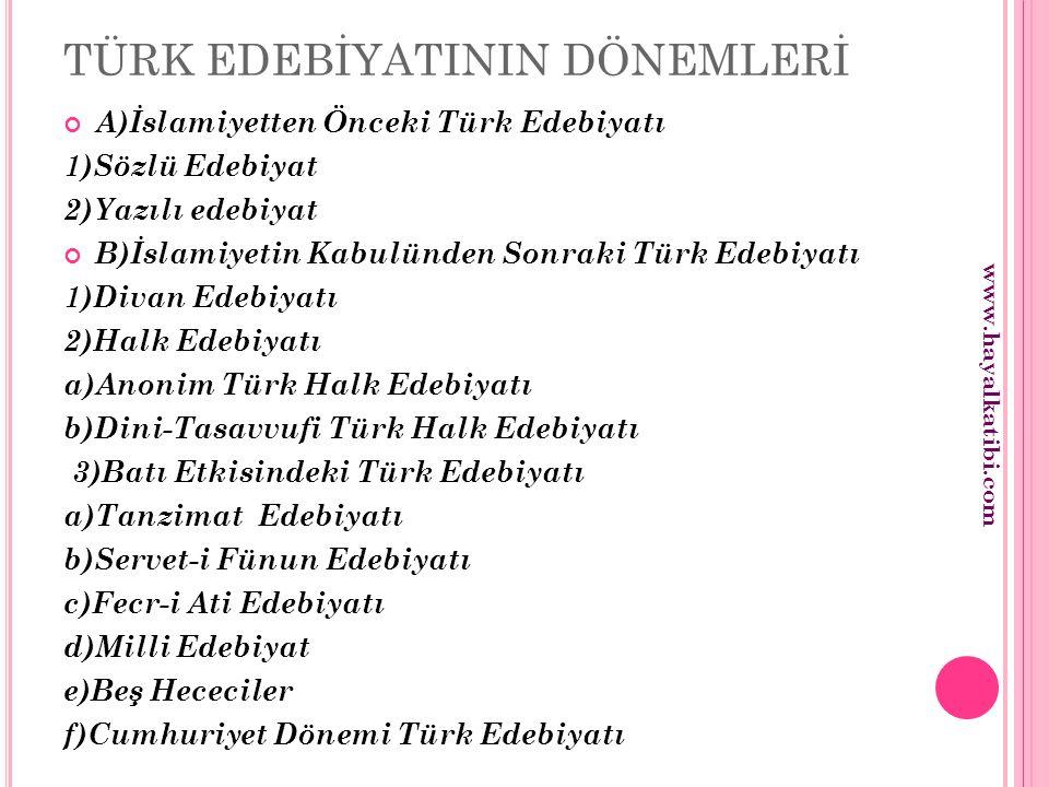 TÜRK EDEBİYATININ DÖNEMLERİ A)İslamiyetten Önceki Türk Edebiyatı 1)Sözlü Edebiyat 2)Yazılı edebiyat B)İslamiyetin Kabulünden Sonraki Türk Edebiyatı 1)