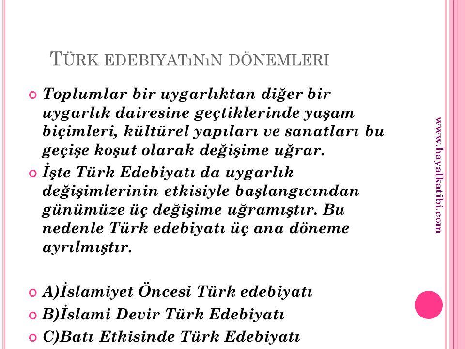 A ) İ SLAMIYET ÖNCESI TÜRK EDEBIYATı 1)SÖZLÜ EDEBİYAT (?—7.YY.) Sözlü Edebiyat, Türklerin henüz yazıyı kullanmadıkları dönemdeki edebiyattır.