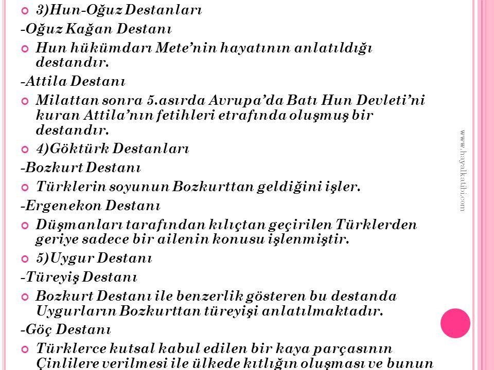 İSLAMİYET SONRASI TÜRK DESTANLARI Manas Destanı Battal Gazi Destanı Satuknameler Üç Şehitler Destanı(Fazıl Hüsnü Dağlarca) Sakarya Meydan Savaşı(Ceyhun Atıf Kansu) Çanakkale Şehitlerine(Mehmet Akif Ersoy) Kuva-yı Milliye Destanı(Nazım Hikmet Ran) www.hayalkatibi.com