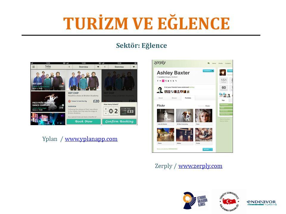 TURİZM VE EĞLENCE Yplan / www.yplanapp.comwww.yplanapp.com Zerply / www.zerply.comwww.zerply.com Sektör: Eğlence