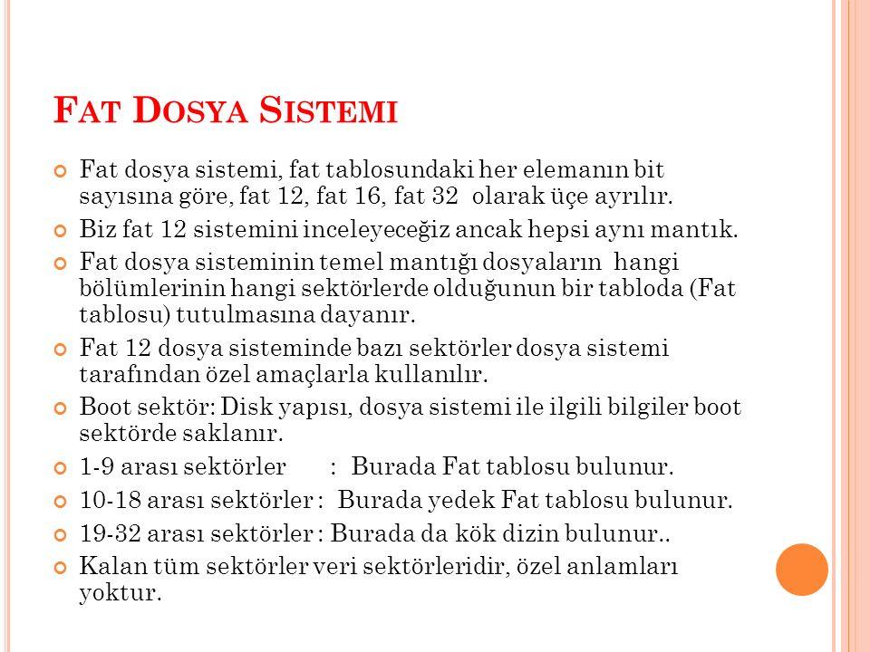 F AT D OSYA S ISTEMI Fat dosya sistemi, fat tablosundaki her elemanın bit sayısına göre, fat 12, fat 16, fat 32 olarak üçe ayrılır. Biz fat 12 sistemi