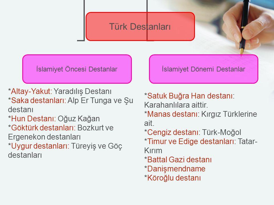 Türk Destanları İslamiyet Öncesi Destanlarİslamiyet Dönemi Destanlar *Altay-Yakut: Yaradılış Destanı *Saka destanları: Alp Er Tunga ve Şu destanı *Hun