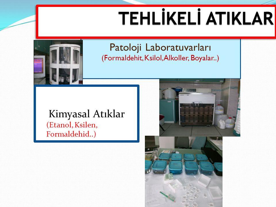 Patoloji Laboratuvarları (Formaldehit, Ksilol, Alkoller, Boyalar..) Kimyasal Atıklar (Etanol, Ksilen, Formaldehid..) TEHLİKELİ ATIKLAR