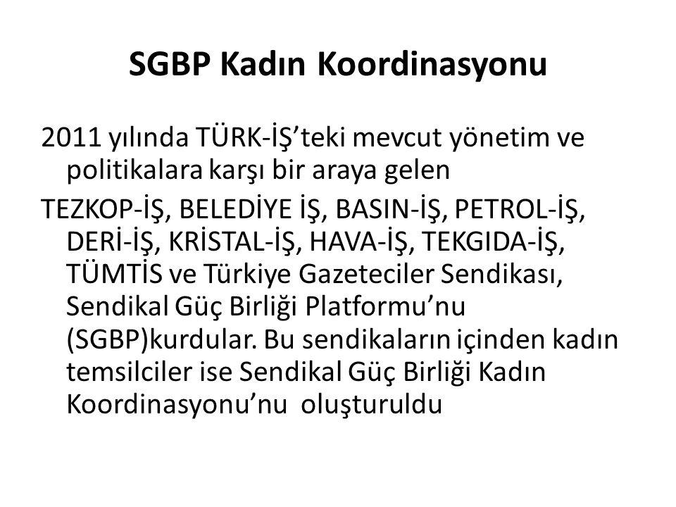 SGBP Kadın Koordinasyonu 2011 yılında TÜRK-İŞ'teki mevcut yönetim ve politikalara karşı bir araya gelen TEZKOP-İŞ, BELEDİYE İŞ, BASIN-İŞ, PETROL-İŞ, DERİ-İŞ, KRİSTAL-İŞ, HAVA-İŞ, TEKGIDA-İŞ, TÜMTİS ve Türkiye Gazeteciler Sendikası, Sendikal Güç Birliği Platformu'nu (SGBP)kurdular.