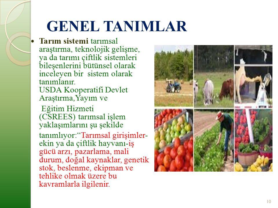 GENEL TANIMLAR Tarım sistemi tarımsal araştırma, teknolojik gelişme, ya da tarımı çiftlik sistemleri bileşenlerini bütünsel olarak inceleyen bir sistem olarak tanımlanır.