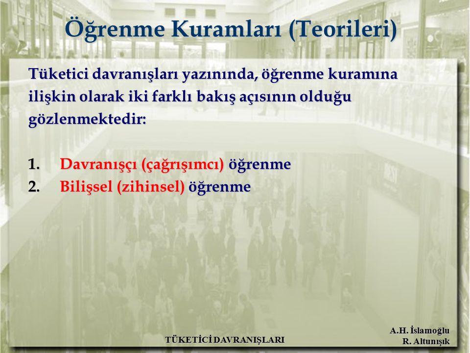 A.H. İslamoğlu R. Altunışık TÜKETİCİ DAVRANIŞLARI Öğrenme Kuramları (Teorileri) Tüketici davranışları yazınında, öğrenme kuramına ilişkin olarak iki f