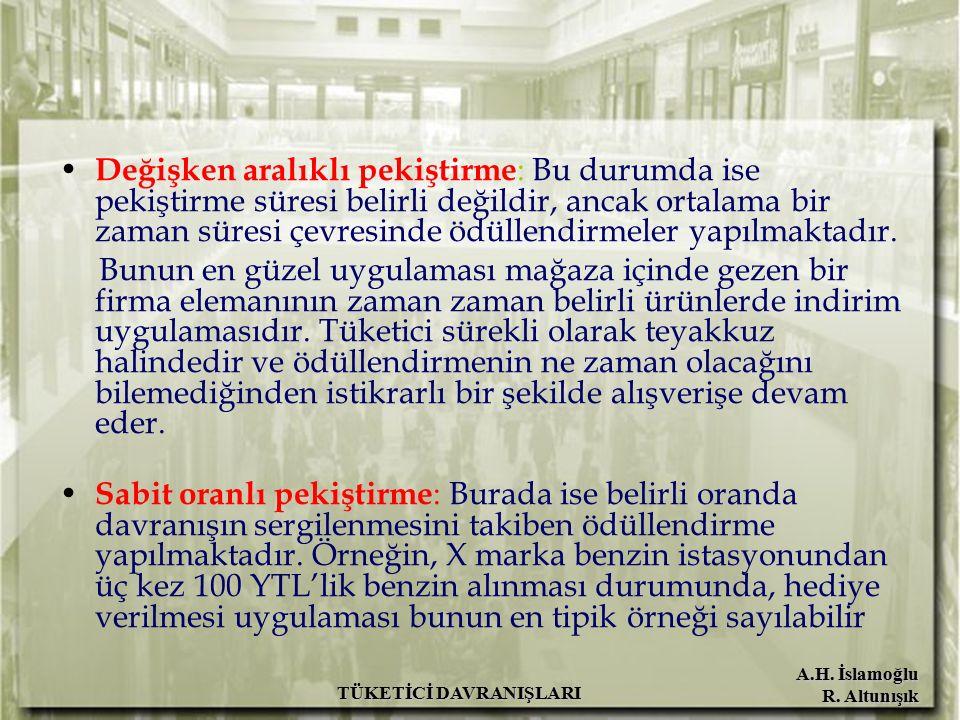 A.H. İslamoğlu R. Altunışık TÜKETİCİ DAVRANIŞLARI Değişken aralıklı pekiştirme : Bu durumda ise pekiştirme süresi belirli değildir, ancak ortalama bir