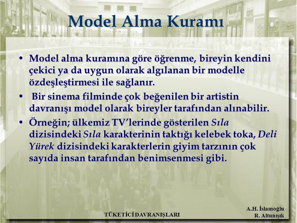 A.H. İslamoğlu R. Altunışık TÜKETİCİ DAVRANIŞLARI Model Alma Kuramı Model alma kuramına göre öğrenme, bireyin kendini çekici ya da uygun olarak algıla