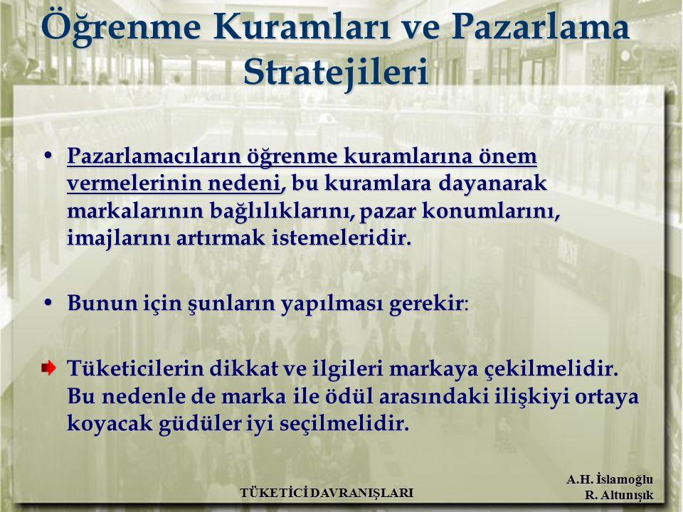 A.H. İslamoğlu R. Altunışık TÜKETİCİ DAVRANIŞLARI Öğrenme Kuramları ve Pazarlama Stratejileri Pazarlamacıların öğrenme kuramlarına önem vermelerinin n