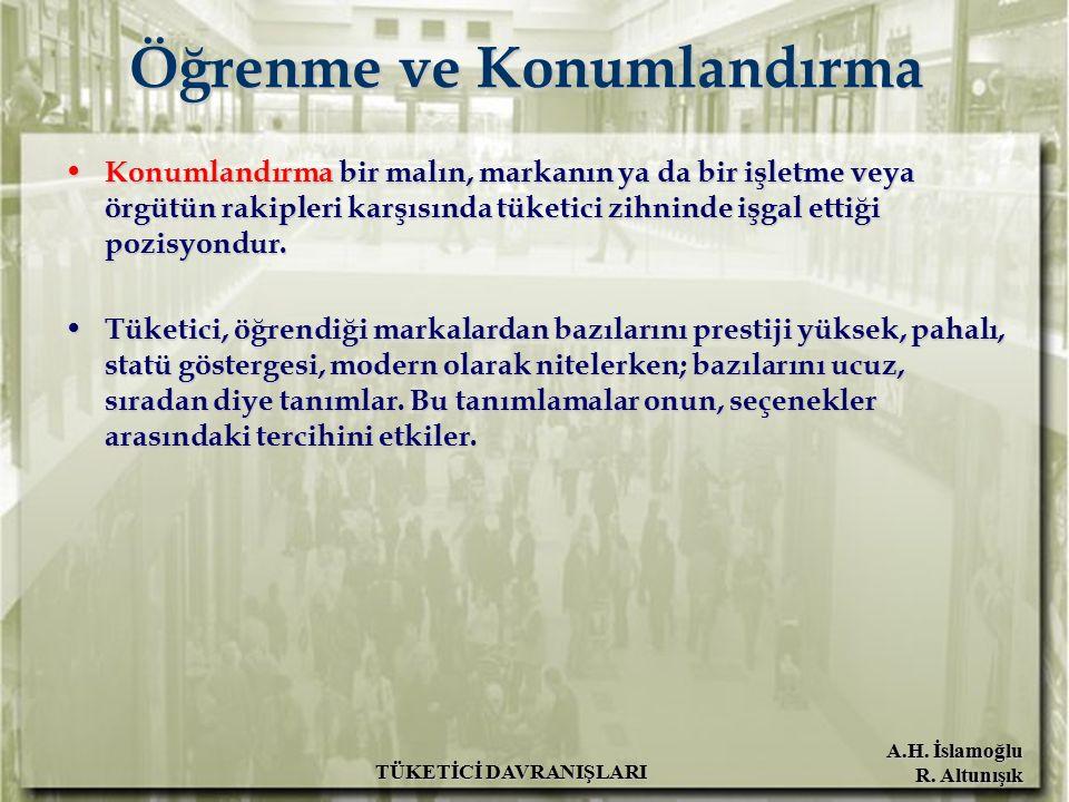 A.H. İslamoğlu R. Altunışık TÜKETİCİ DAVRANIŞLARI Öğrenme ve Konumlandırma Konumlandırma bir malın, markanın ya da bir işletme veya örgütün rakipleri
